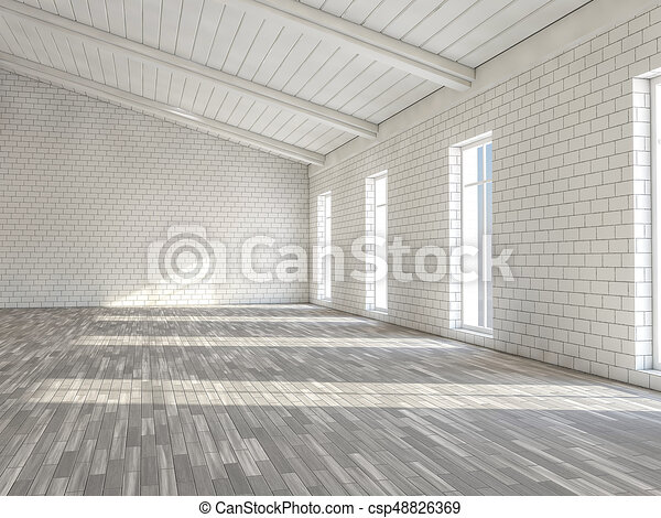 Line Art Floors : Sunny big open area with windows. 3d. spacious stock