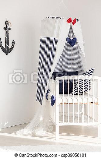 Sunny corner of a newborn's marine room - csp39058101