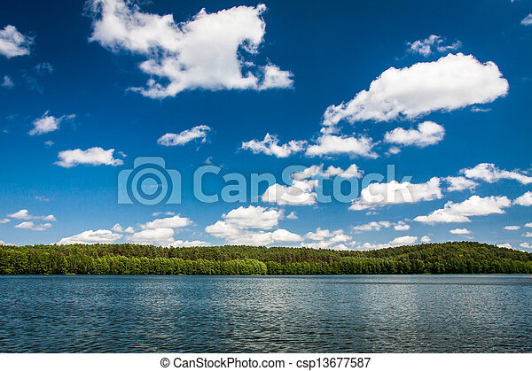 Sunny day at the lake in national park - csp13677587