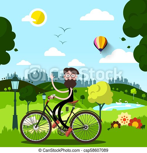 Sunny Day in City Park with Waving Man on Bike - csp58607089