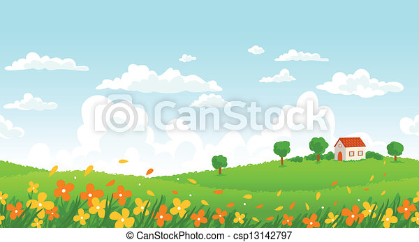 Sunny day seamless landscape with house on a hill and flower field. - csp13142797