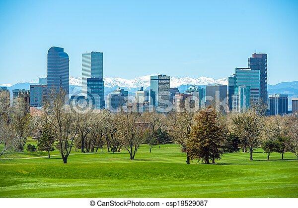 Sunny Denver Skyline - csp19529087