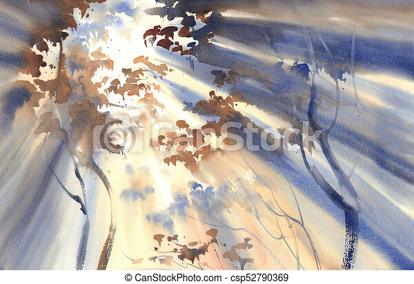 sunny forest watercolor landscape autumn light in the forest watercolor landscape sun rays in the mist https www canstockphoto com sunny forest watercolor landscape 52790369 html