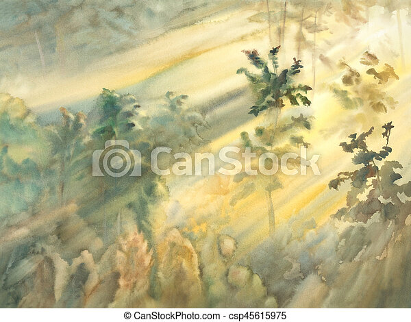 sunny morning forest landscape watercolor - csp45615975