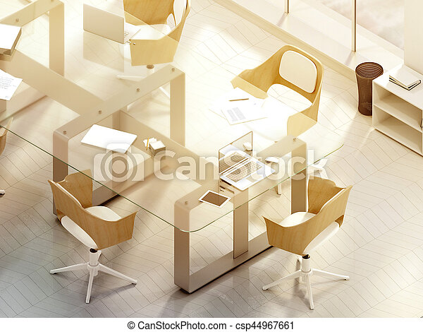 Sunny office room with blank laptop screen mockup, 3d rendering ...