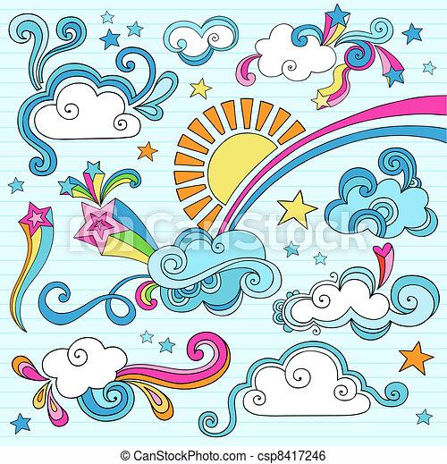 Sunny Sky Clouds Notebook Doodles - csp8417246