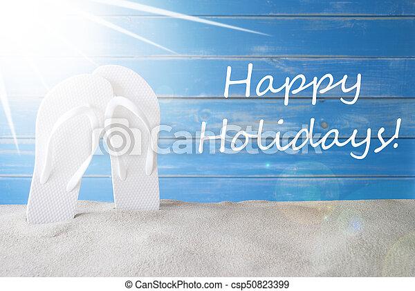 Sunny summer background text happy holidays english text happy sunny summer background text happy holidays csp50823399 m4hsunfo