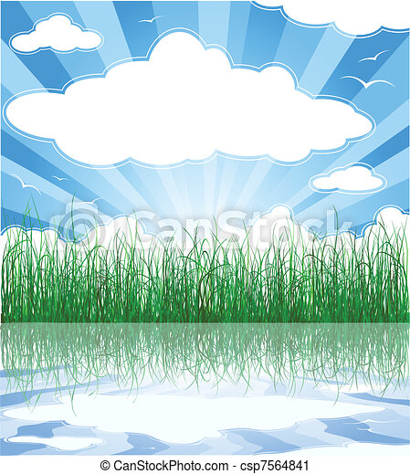 Sunny summer background with grass, water and clouds - csp7564841