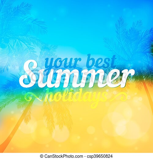Sunny summer vector backdrop with palms - csp39650824