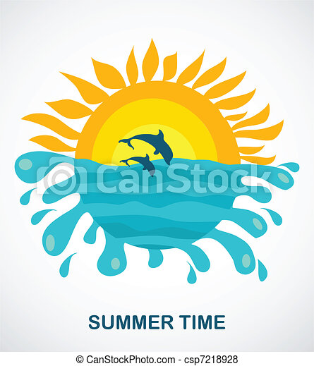 sunny view of two jumping dolphins - csp7218928