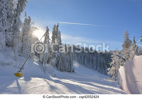 Sunny winter landscape in the mountains - csp42552424