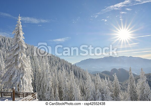 Sunny winter landscape in the mountains - csp42552438
