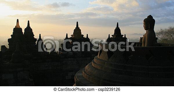 Sunrise at Borobodur temple, Yogyakarta, Indonesia - csp3239126
