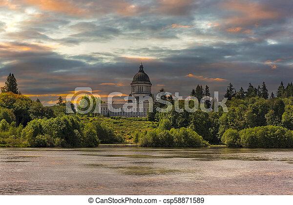Sunrise at Capitol Lake in Olympia Washington - csp58871589