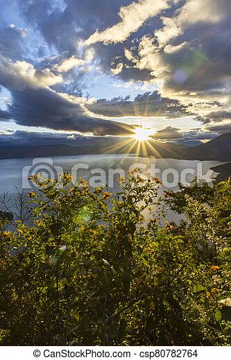 sunrise at lake atitlan - csp80782764