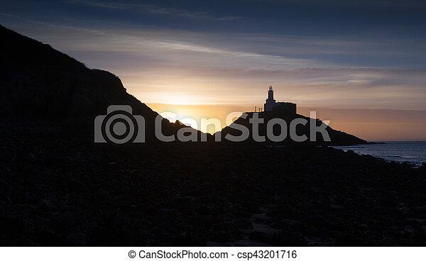 Sunrise at Mumbles lighthouse - csp43201716