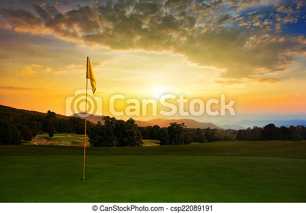 Sunrise at the golf course - csp22089191