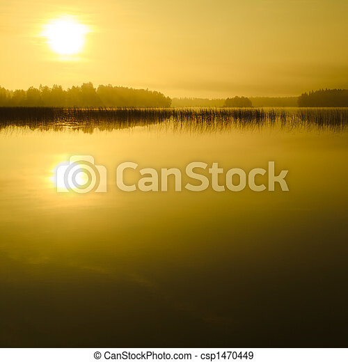 Sunrise at the lake - csp1470449