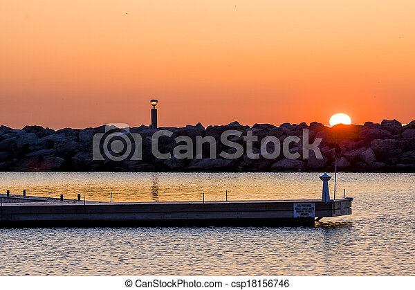 Sunrise at the Marina - csp18156746