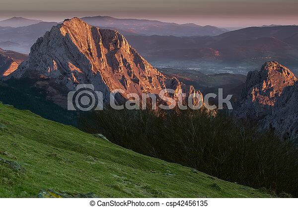 Sunrise at the Urkiola Natural Park - csp42456135