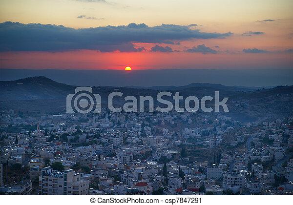 Sunrise in Bethlehem, Palestine, Israel - csp7847291