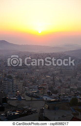 Sunrise in Bethlehem, Palestine, Israel - csp8088217