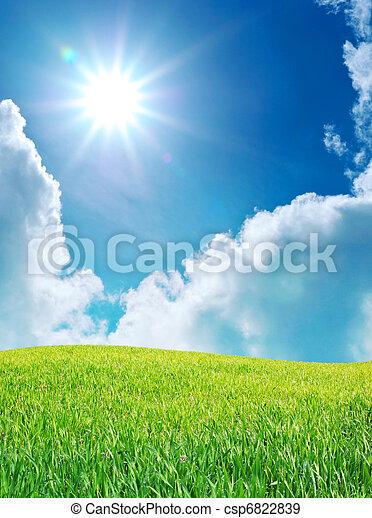 Sunrise in grean meadow - csp6822839