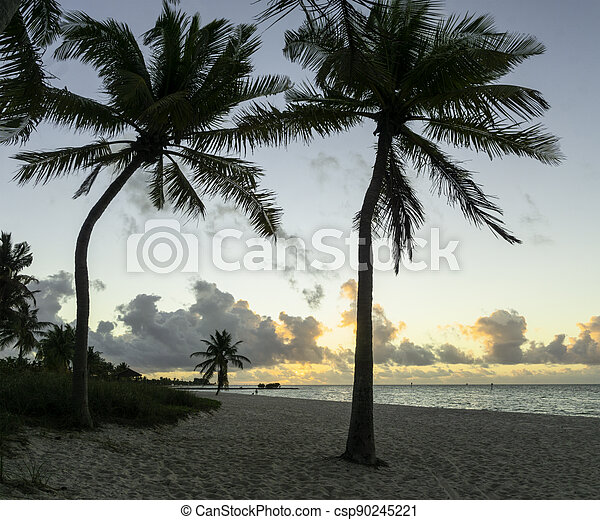 Sunrise in Key West at Smathers Beach. - csp90245221