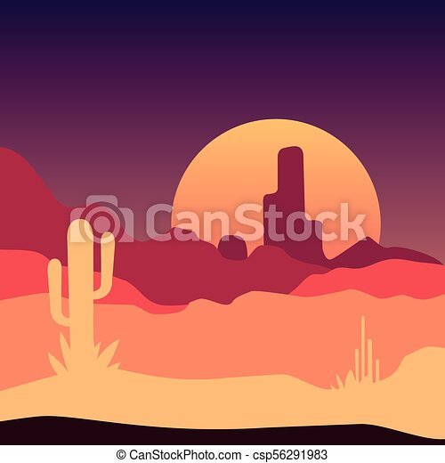 sunrise in mexican desert landscape with cactus plants and rocky rh canstockphoto com Sunrise Over Water Clip Art Beach Clip Art