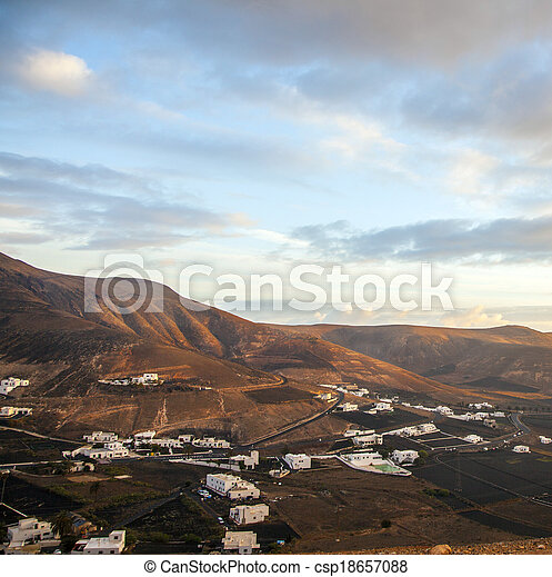 sunrise in the mountains at Femes, Lanzarote - csp18657088