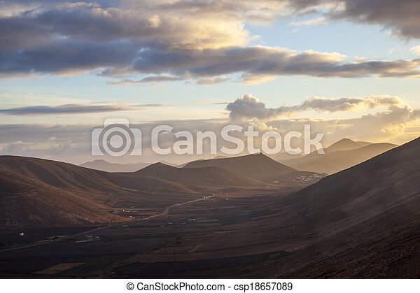 sunrise in the mountains at Femes, Lanzarote - csp18657089