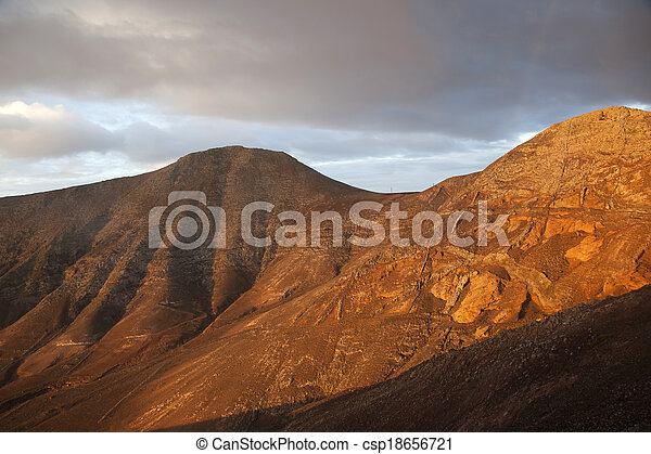 sunrise in the mountains at Femes, Lanzarote - csp18656721