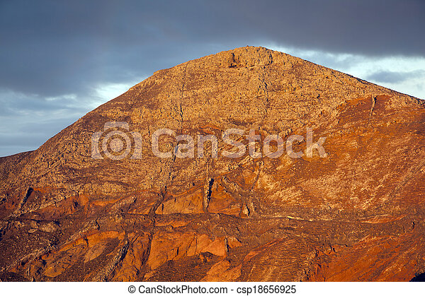 sunrise in the mountains at Femes, Lanzarote - csp18656925