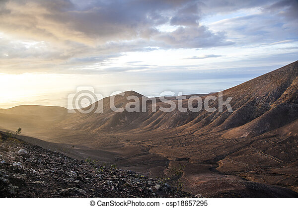 sunrise in the mountains at Femes, Lanzarote - csp18657295