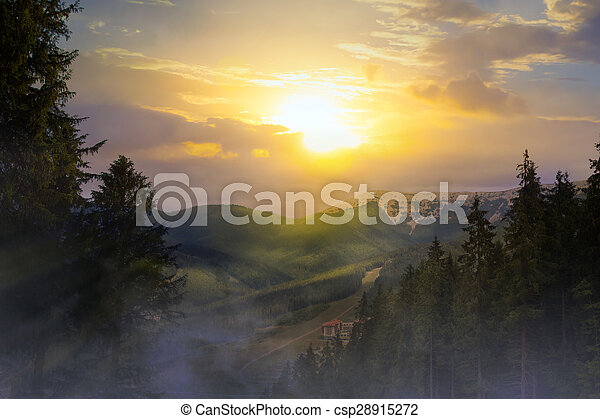 sunrise in the mountains - csp28915272