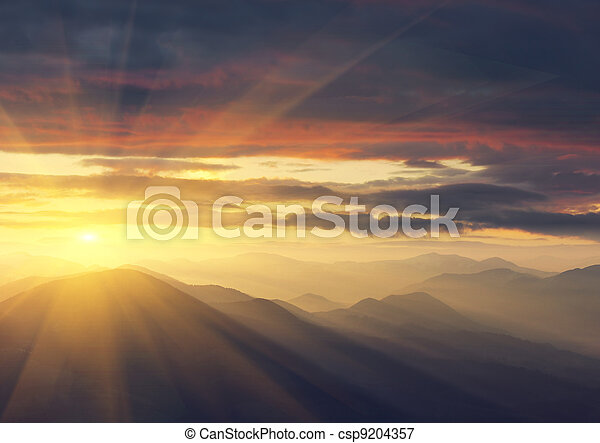 Sunrise in the Mountains - csp9204357