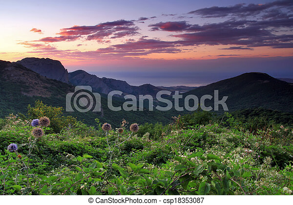 Sunrise in the mountains - csp18353087
