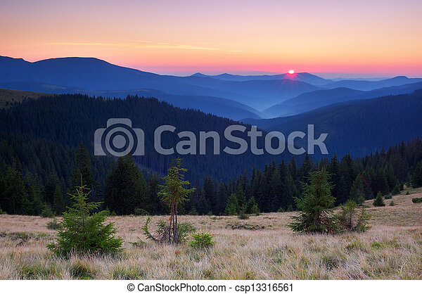 Sunrise in the mountains - csp13316561