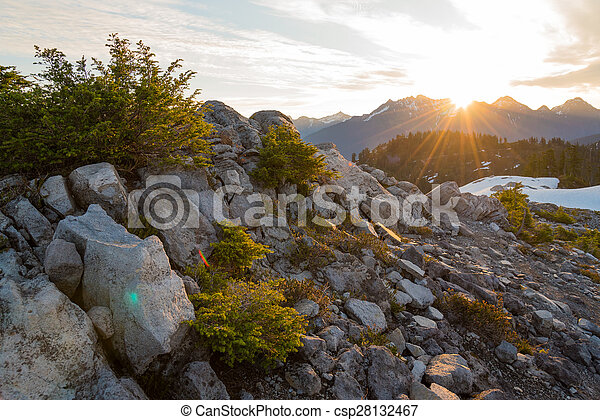 Sunrise in the mountains - csp28132467