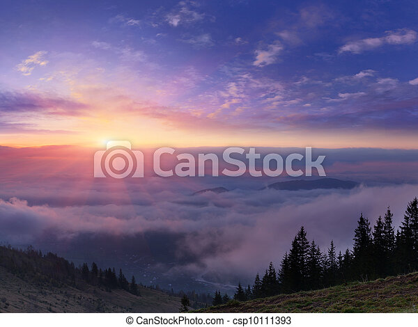 Sunrise in the mountains - csp10111393