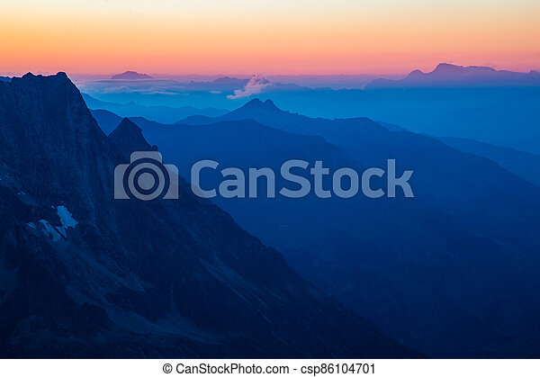 Sunrise in the mountains - csp86104701
