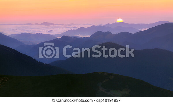Sunrise in the mountains - csp10191937
