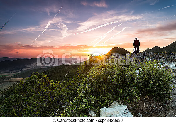 Sunrise in the mountains - csp42423930