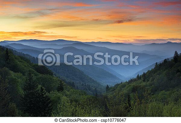 Sunrise Landscape Great Smoky Mountains National Park Gatlinburg TN and Oconaluftee Valley Cherokee NC - csp10776047