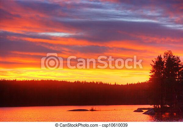 Sunrise on lake - csp10610039
