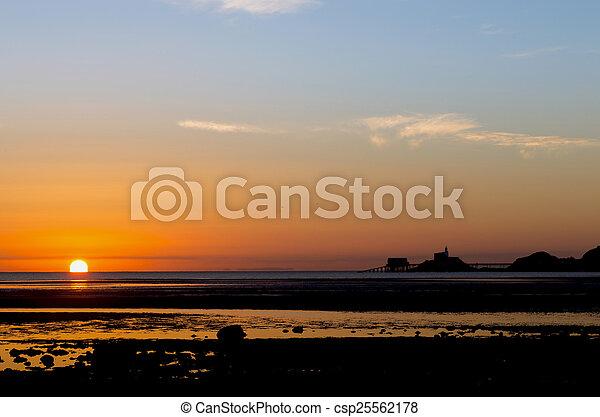 Sunrise on the Mumbles - csp25562178