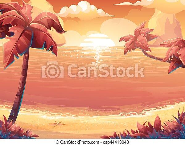 Crimson Palm Trees