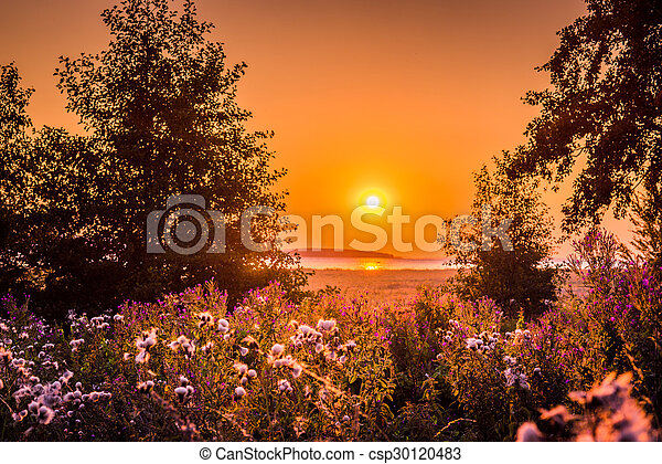 Sunrise over a lake in a countryside - csp30120483