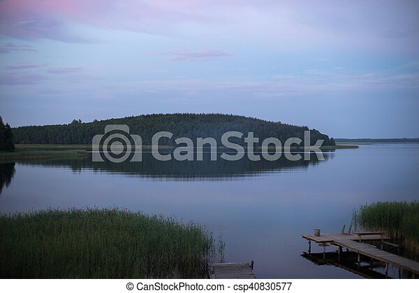 sunrise over a lake with island - csp40830577