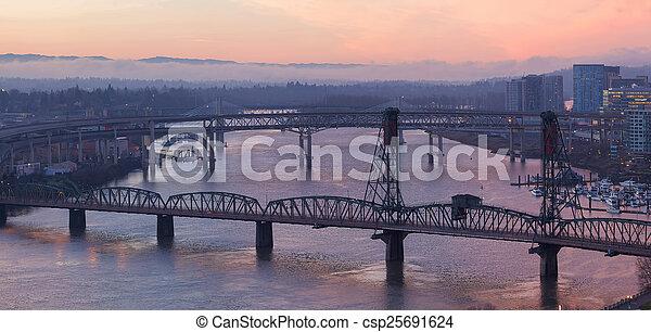 Sunrise Over Bridges of Portland Oregon - csp25691624